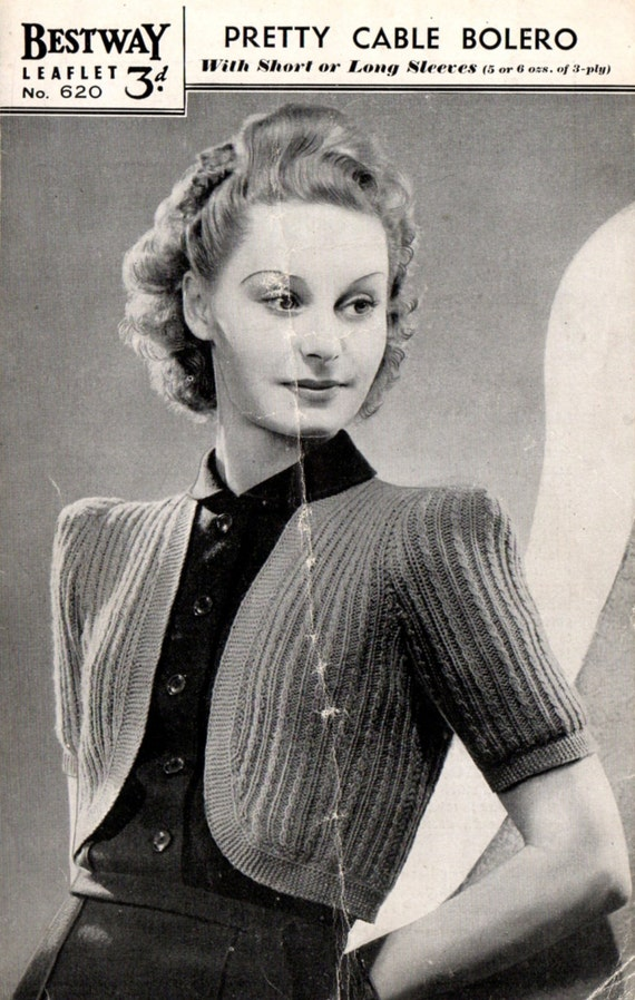 1940\'s Bestway 620 PDF Knitting Pattern - Vintage Cable Bolero ...