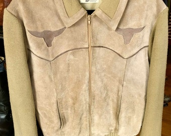 Vintage 1970's Men's SILTON Suede & Knit Steer Western Zippered Khaki Color Cardigan Sweater with Steer
