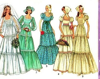 Simplicity 6278 Country Charmer Wedding or Bridesmaid Dress & Scarf / 1974 SZ8 UNCUT