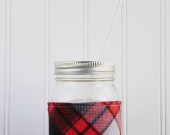 Red & Black Flannel Mason Jar Sleeve - for PINT size Mason Jar (16 oz)