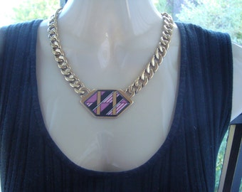 MICHAELA FREY WILLE Necklace pendant modern art collection 80's enamel 24 k gold plated