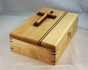 Maple, Bible Box,Bible Study,Family History,Bible Case,Bible Holder,Bible Stand,Bible Accessories,Cross,Family Bible,Bible