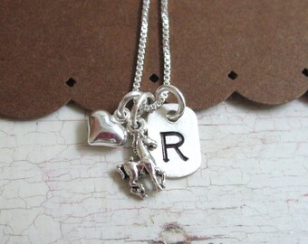 Love My Little Pony Girls Hand Stamped Personalized Initial Necklace