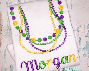 Mardi Gras Beads Shirt, Bodysuit or Gown