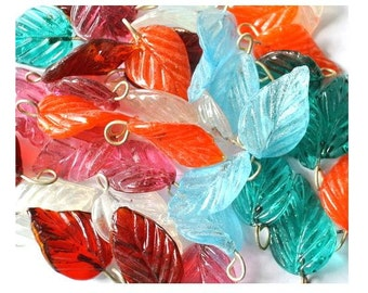 36 Vintage glass dangling beads leaf shape 6 colors 27mm X15mm