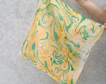 Green Orange and Yellow Hand-Marbled Silk Square Scarf