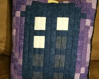 Tardis in Time Vortex Pixel Pillow Cover