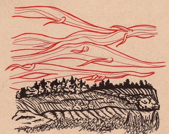 "Spirit Skies - 9""x9"" - Original Illustration"