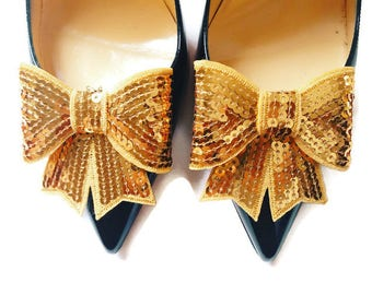 Gold Sequin Bows, Gold Wedding Shoe Clips, Gold Bridal Shoes