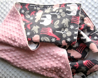 """Baby GIRL Zoology Pink Blanket 35"""" x 29"""" in GORGEOUS Michael Miller Pink Zoology - Yellow, White, Light Pink, and Gray COTTON & Minky Dot"""