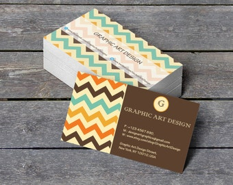 "Business Card Template - Aztec Chevron Monogram Professional Calling Card - Editable PDF - 3.5"" x 2"" Printable Business Card - DIY You Print"