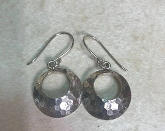 Sterling silver dangle hammered hoop earrings. Hobo