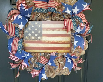 Rustic American Flag Wreath. Patriotic Wreath. Red White and Blue.