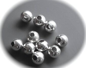 15 beads round smooth 6 mm diameter silver metal