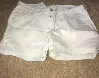 White Pin Striped Boyfriend Shorts
