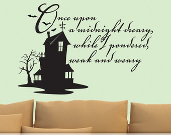 The Raven Vinyl Wall Decal, Edgar Allan Poe Quote, Haunted House, Bats, Owl, Fall Decor, Halloween Decoration
