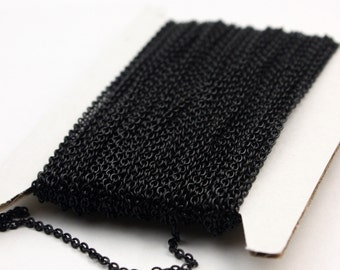 Black Chain bulk Chain, 10 ft of Round Soldered Chain Cable Chain - 2x2.5mm SOLDERED link - Necklace Wholesale chain