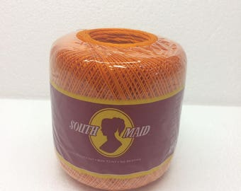 South Maid Mercerized Cotton Crochet Thread size 10 Pumpkin Orange