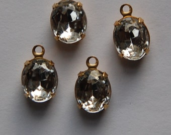 Vintage Faceted Clear Oval Stones in One Loop Brass Setting ovl005A