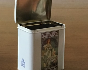 Collectible Nestle Advertising Tin with Art Deco Design Nestle Good Start Food for Infants Collectible Tin Candy Cookie Container