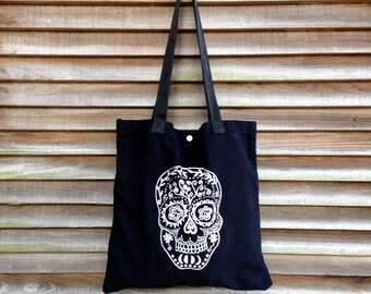 Sugar Skull Tote, Shopping Bag, School Tote, Cute Bag