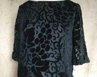 Midnight Blue Devoré Velvet 1920s Dress * Flapper * 1920s Dress
