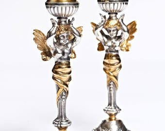 "Silver Candlesticks ""Angels"""