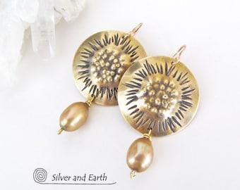 Brass Statement Earrings, Big Gold Earrings, Pearl Dangle Earrings, Handmade Modern Metal Jewelry, Unique Jewelry for Women, Gift for Her