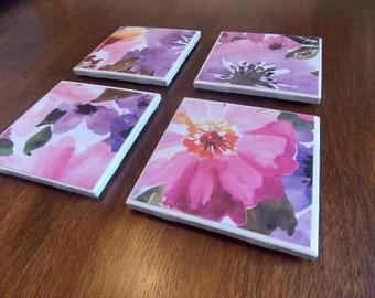 Set of Four Ceramic Tile Coasters