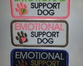 U Pick Color Combo Sew On Embroidered Patch - Emotional Support Dog