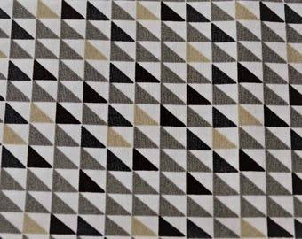 Geometric triangle white and beige motif cotton fabric