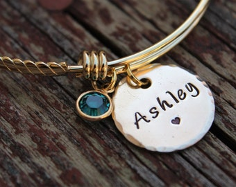 Hand Stamped Bangle Bracelet, Personalized Mommy Bracelet, Gold Mother Jewelry, Initial Bangles, Gift for Mom, New Mom Gift