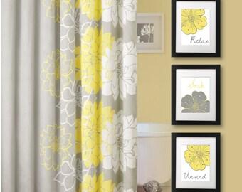 Bathroom Art Print - Bathroom Decor - Bath Art. Bath Decor. Relax Soak Unwind. Flower Bath Art. Yellow Gray Grey. Flower Bath Decor (NS-681)