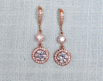 Rose Gold Clear Cubic Zirconia CZ Halo Bridal Dangle Earrings, Bridal, Wedding (Sparkle-2786)