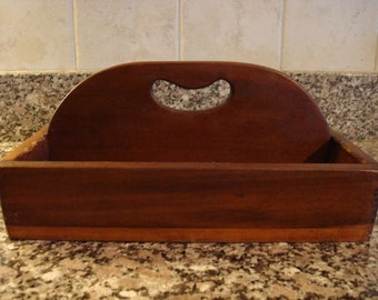 Vintage wood utensil tray/caddy with handle and two compartments-rustic home decor- farmhouse decor