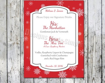 His and Her Signature Drink Wedding Sign - Printables - Red and Silver with Snow Flakes