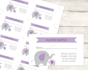 diaper raffle tickets printable baby girl shower DIY elephants purple lavender grey cute baby digital shower games - INSTANT DOWNLOAD
