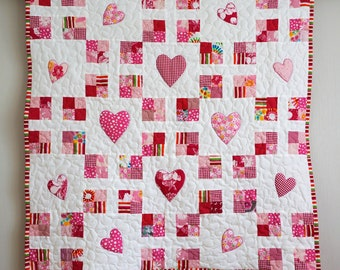 Baby Quilt, Made to Order, Pink Patchwork Quilt with Hearts, New Baby Blanket, Girls Crib Quilt, Baby Nursery Bedding, Baby shower Gift