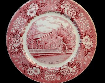 Vintage Adams Red Transferware Gettysburg PA Souvenir Plate General Robert E Lee's Civil War Battle Headquarters