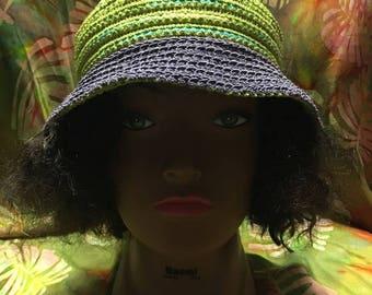 Crocheted Bucket Hat, Green and Purple, Handmade