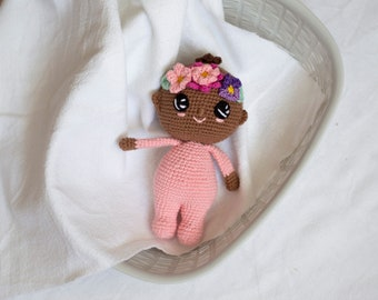 Crochet toy baby girl with flowers , amigurumi toy, crochet doll baby gift