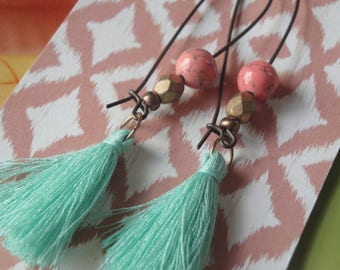 Mint Tassels  Pink And Gold Bead   Light As A Feather   Tassel Drop Earrings