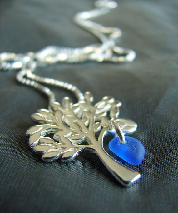 Tree of Life sea glass necklace in cobalt blue