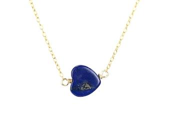 Lapis heart necklace - lapis lazuli necklace - blue heart necklace - love necklace