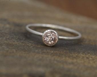 Morganite 5mm Round Matte Silver Bezel Stacking Ring - Matte finish - 1.2 mm Band - Pink Morganite - Stacking Ring -  Morganite Solitaire