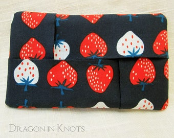 Strawberries Travel Tissue Holder - Small Navy Blue Cotton Fabric Tissue Packet Cover for Pocket, Purse, or Backpack - red summer fruit