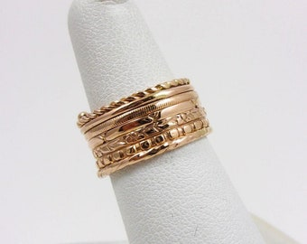 Solid 14K Yellow Rose Gold 9mm Semanario Seven Day Ring Band Size 5.5, 6.0 grams