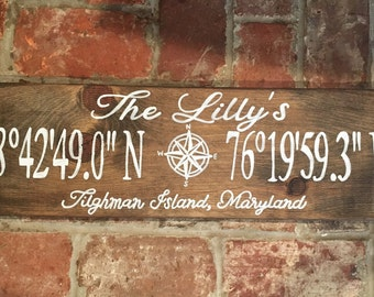 Home Coordinate Wood Sign | Latitude and Longitude | Location Wood Sign | GPS Coordinates | Personalized Wood Sign | Farmhouse Sign