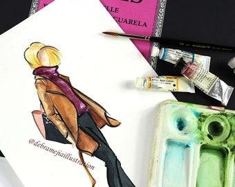Fashion Poster, Fall Fashion Illustration, Blonde Girl, Fashion Sketch, Purple Boots, Chic Wall Art, Black Jeans, Watercolour Print