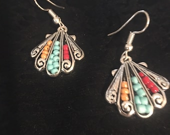 Sterling Silver Beaded Sea Shell Earrings